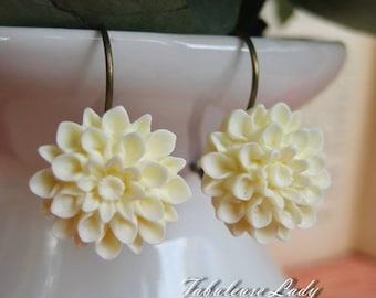 Ivory Dahlia/ Resin Flower/ Earrings/ Bridesmaid