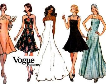 Vogue 8567 Fit and Flare Evening Dress or Maxi with Skirt Godets Vintage Sewing pattern Size 12 Bust 34 inches