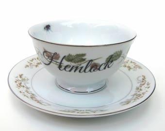 SALE - Damaged - Hemlock Altered Vintage Teacup and Saucer