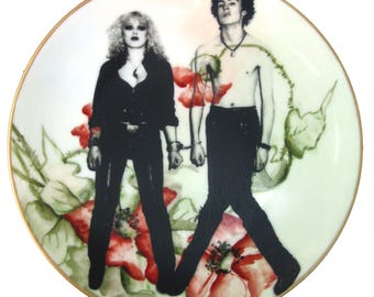 Sid and Nancy Altered Vintage Plate 7""