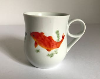 Vintage Japanese Koi / Goldfish Porcelain Coffee Mug