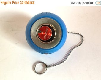 SALE - Vintage 1970's BESTEVER Blue Round Orb Solid State Radio with Chain - Works