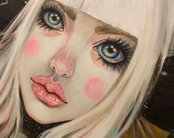 Death's Head Moth Girl, original art, original painting, Kim Turner Art, australian artist, lowbrow, popsurrealist, faerie artist