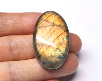 Labradorite Grooved Oval Cabochon Natural Gemstone Macrame Wire Woven Jewelry AAA Quality - 42.0 x 25.0 x 7.5 mm - 64.5 ct - 170604-11