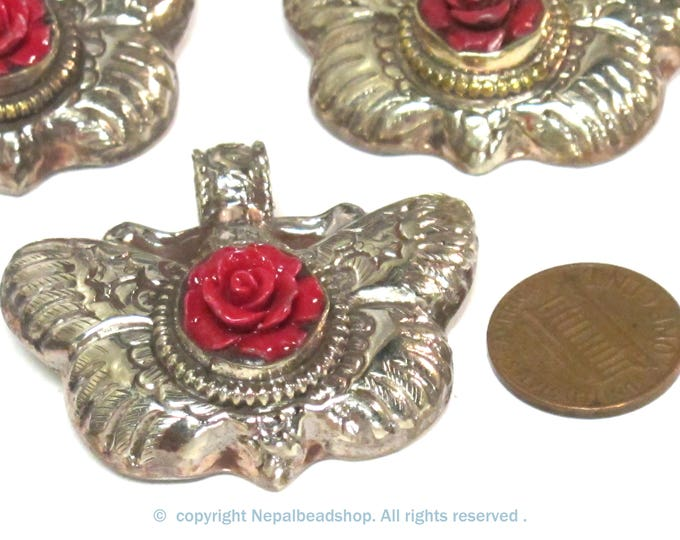 1 Pendant - Tibetan silver butterfly with red flower  pendant with reverse side floral carving from Nepal - PM601A
