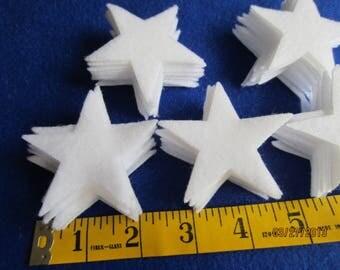 "50-2-1/2""White Felt Stars-50 Die Cut Felt Stars-Quiet Book-Iron On Stars-Quilt Appliques-Planner Stickers-Bible Journaling-DIY Felt Star Kit"
