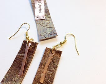 Leather and Copper Necklace and Earring Set-beloved