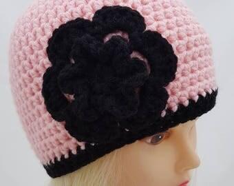 Womens crochet hat, girls beanie, hat, womens crochet beanie, pink hat, black flower, vegan friendly beanie, vegan friendly hat, baby pink