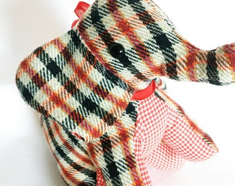 Red and Green Wool Plaid Stuffed Elephant Plushie - Ready to Ship