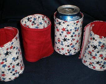 Reversible Can Covers Can Cozies Americana Set of 4 Matching