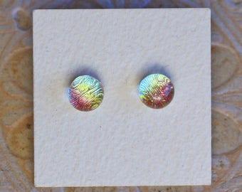Dichroic Glass Earrings , Green Pink & Gold  Rainbow  DGE-1205