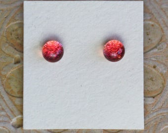 Dichroic Glass Earrings, Petite, Rose Pink  DGE-1286