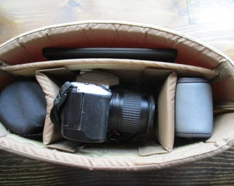 Camera Bag Insert in TAN - Adjustable Dividers - Ready to SHIP