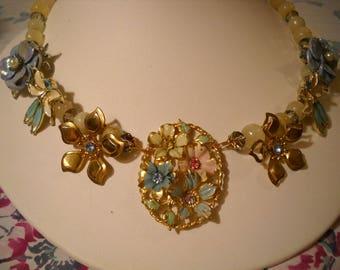 Repurposed Vintage Necklace Flowers Enamel Rhinestones Yellow Natural Stone Beads FREE SHIPPING