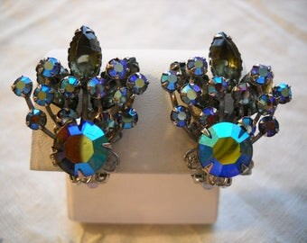 Vintage Clip Back Earrings Blue Aurora Borealis Rhinestones Smoke Navettes Floral Spray FREE SHIPPING