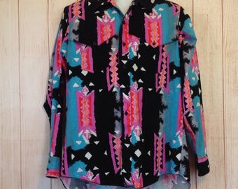 Vintage 90s Wrangler Multi Print Long Sleeve Button Front Country Western Mens L