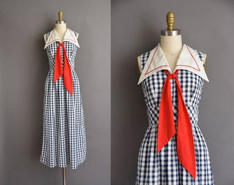 vintage 70s dress. 70s nautical Sailor cotton vintage dress