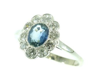 ON SALE Vintage Sapphire Ring - 1930s Platinum engagement ring sapphire diamonds