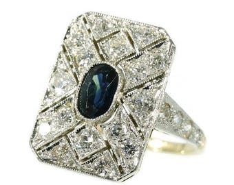 ON SALE Diamond and sapphire Art Deco engagement ring