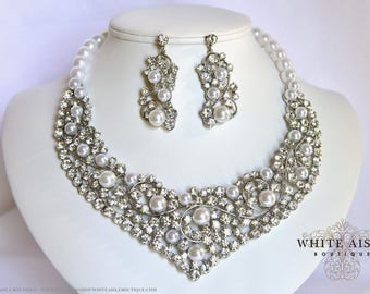 White Pearl Bridal Jewelry Set Crystal Wedding Statement Necklace Earrings Vintage Inspired Prom Evening Pageant Jewelry