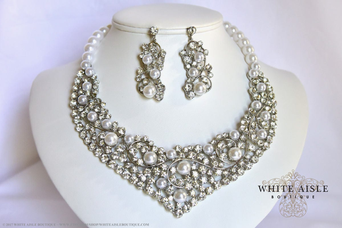 White Pearl Bridal Jewelry Set Crystal Wedding Statement Necklace Earrings Vintage Inspired Prom Evening Pageant