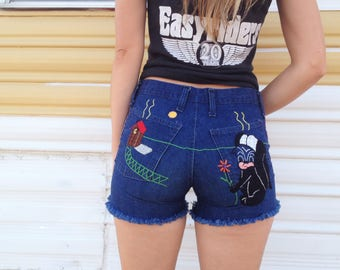 Vintage 70's Hand Embroidered Denim Shorts / Funny Woodstock Era Jeans / Hippie Festival XS S