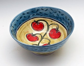 Ceramic Pottery Red Cherry Tomato Bowl - Majolica Bowl - Medium Serving Kitchen Bowl - Fruit Bowl - Pottery Bowl  Tomato Salsa - Farm Rustic