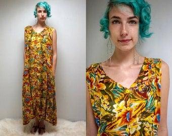 FLORAL SUNDRESS GAUZE Dress 90s Maxi Dress Yellow Dress Button Up Dress Summer Dress Tropical Dress Beach Dress Boho Dress Long Dress Grunge