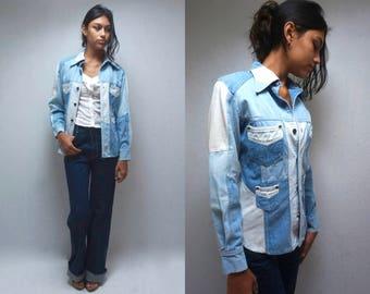 70s Denim Shirt  //  Patchwork Denim Jacket  //  70s Jean Jacket  //  THE HABANERO