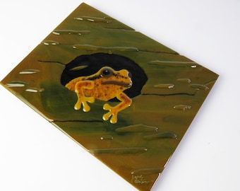 Frog in a Log Fused Glass Wall Panel