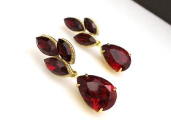 christmas prom bridal wedding bridesmaid gift Swarovski deep red siam fancy marquise flower crystal rhinestone gold teardrop post earrings
