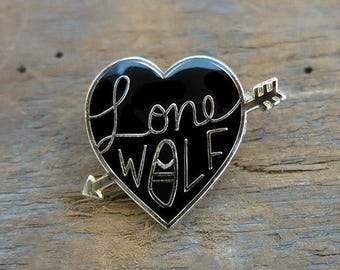 Lone Wolf Black Heart enamel pin by Crywolf // lapel hat collar pin // handmade in Canada