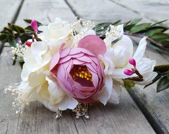 Pink Floral Wreath Crown,  Flower Crown,  Bridal Crown,  Wreath Crown,  Bridal Crowns, Wedding Crown, Pink Ivory Crown,  Bridal, Crown, pink