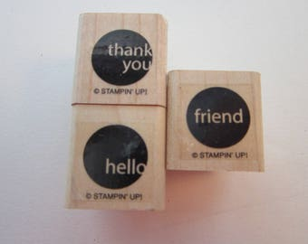 3 rubber stamps - DOT stamps - friend, hello, thank you, Stampin Up - sentiments