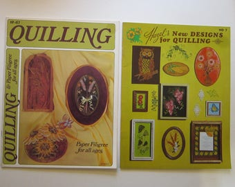 2 vintage PAPER QUILLING books - Quailling Paper Filgree for all ages, Hazel's New Designs for Quilling - 1974