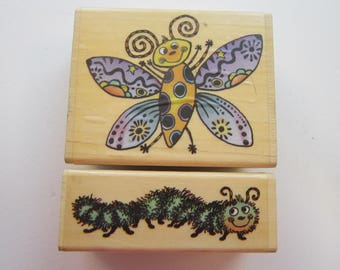 2 rubber stamps - PSX caterpillar and butterfly - SK617a and SK617b - circa 2000