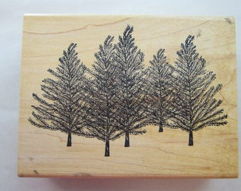 rubber stamp - PINE TREES stamp - circa 2002 - Ann-ticipations 9712M - used rubber stamp