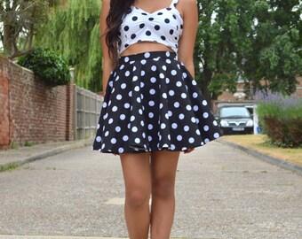 Skater Skirt  - Short Circle Skirt - Polka Dot Skirt - Black and White Polka Dots - Pin Up - Picnic - Summer Free Ship