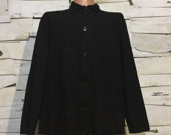 Vintage European Black Dyed Cotton Button Up Distressed / Weathered Chore Coat (os-ewj-13)