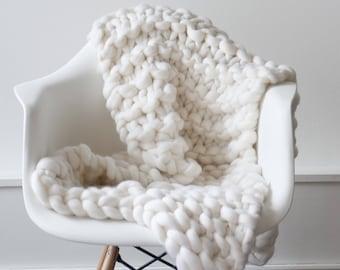 Knit blanket. Luxury Throw. White Christmas