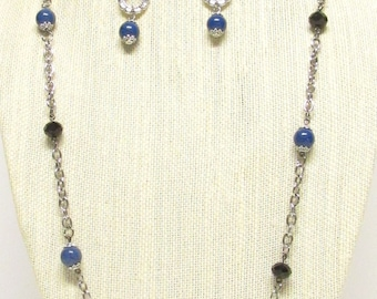 "38"" Blue and Black Linked Bead Necklace Set #20472"