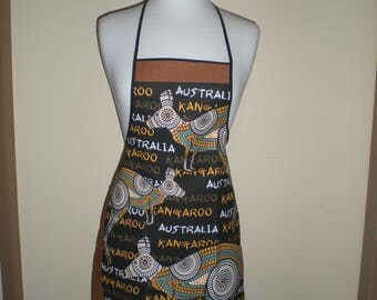 Australian souvenir Kangaroo Aboriginal black brown print apron Great overseas gift for family and friends Cotton fabric