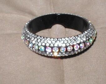 Vintage Black Bakelite Lucite Rhinestone Bangle Bracelet