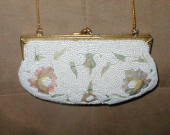 RARE Antique Embroidery & White Beaded Evening Purse made in Belgium