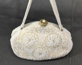 Vintage 1950's White Beaded Evening Bag Purse