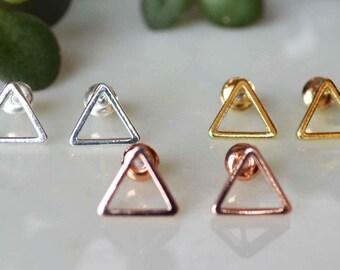 Triangle earrings. triangle post earrings, Gold triangleearrings, Silver triangle earrings, gold rose triangle earrings, triangle post earri