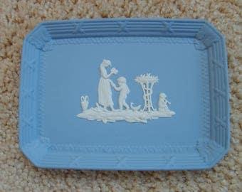 Wedgewood Blue Jasperware Tray, Woman and Child