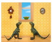 FALL SALE T. Rex twins dinosaur decor art print: Primordial Pie