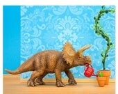 FALL SALE Dinosaur decor triceratops wall art print - Green Thumb
