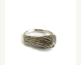 Sample Sale Off set tree branch ring | RECYCLED DIAMOND | Recycled oxidized silver  | Alternative engagement ring |  size 8 ring